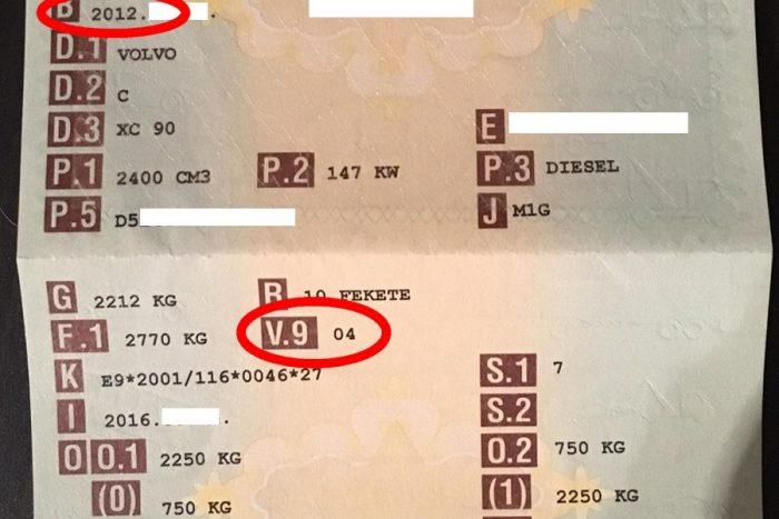 A B rubrika jelzi az első forgalomba vétel időpontját, ami legtöbbször alig tér el a gyártásétól: ez egy 2012-es évjáratú autó