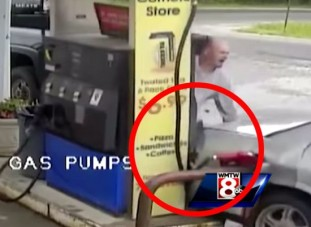 Egy lépésen múlt a halál a benzinkútnál