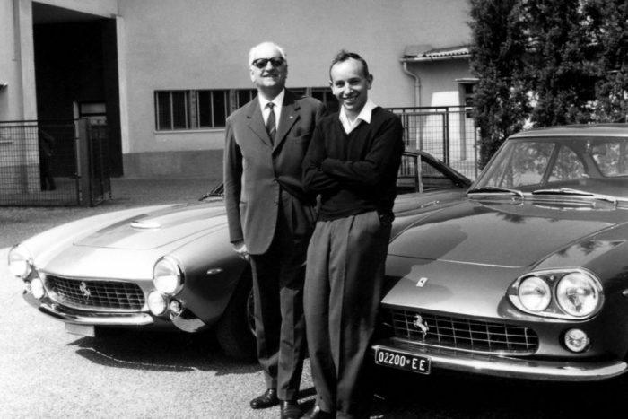 Enzo Ferrari és John Surtees a hatvanas évek derekán