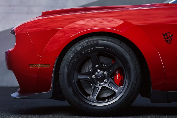 The 2018 Dodge Challenger SRT Demon is equipped with a set of four exclusive 315/40R18 Nitto NT05R street-legal drag radial tires, a first for a factory-production car.