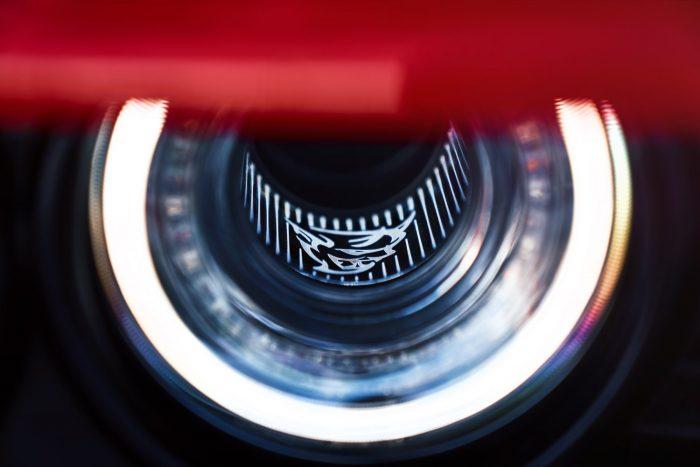 The 2018 Dodge Challenger SRT Demon's driver-side functional Air-Catcher headlamp features a Demon logo.