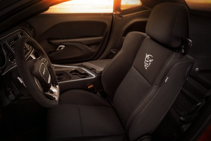 Standard drag-race inspired interior configuration of the 2018 Dodge Challenger SRT Demon has driver seat only; first-ever factory-production Challenger with a front passenger seat delete.