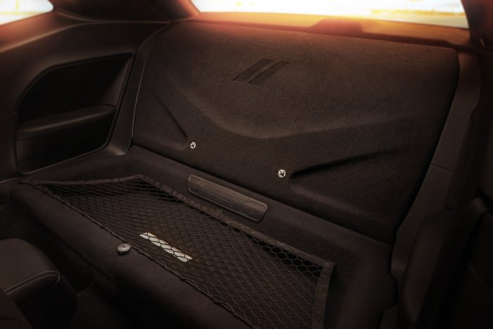 Standard drag-race interior configuration of the 2018 Dodge Challenger SRT Demon has rear seats removed; first-ever, factory-production Challenger with a rear-seat delete.