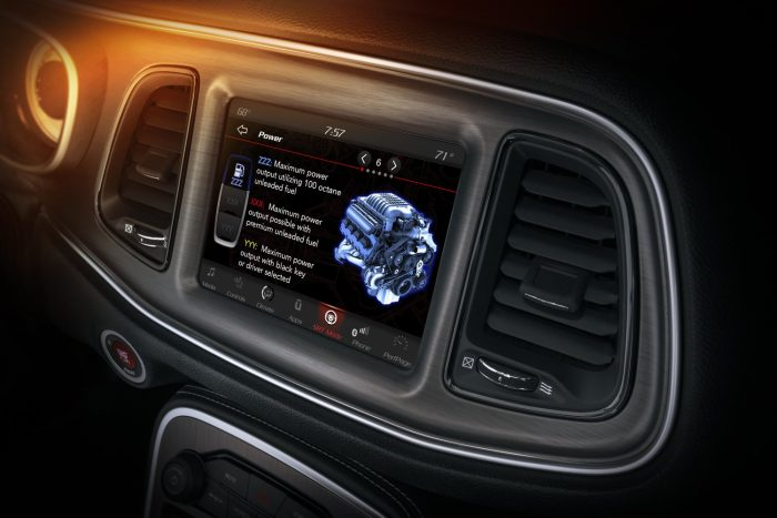 The 2018 Dodge Challenger SRT Demon includes a detailed power page that explains each level drivers can select for the engine from SRT Demon Mode Pages, as shown on the 8.4-inch Uconnect touchscreen.