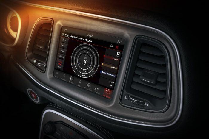 The Challenger SRT Demon's Performance Pages feature an Engine readout page, which displays instantaneous power and torque with boost pressure displayed on the 8.4-inch Uconnect touchscreen.