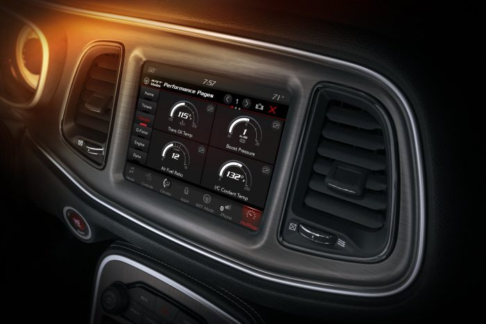 The Challenger SRT Demon's Performance Pages feature a new Gauge readout page, which displays various gauges on the 8.4-inch Uconnect touchscreen.