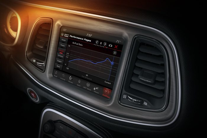 The Challenger SRT Demon's Performance Pages feature an individual full-screen line graph, which can be expanded from each individual gauge on the main page, displayed on the 8.4-inch Uconnect touchscreen.