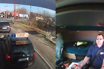 A magyar kamionos videóra vette, ahogy egy tanulóvezető szívatja