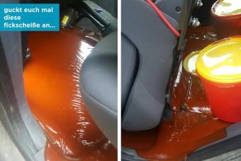 20 kilónyi ketchup borul ki az autódban, te mit tennél?