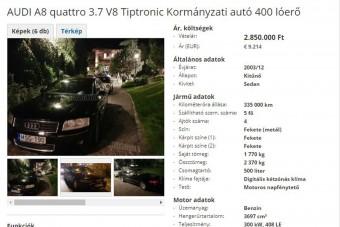 Páncélozott, kormányzati Audi eladó, ami nem mellesleg mozisztár