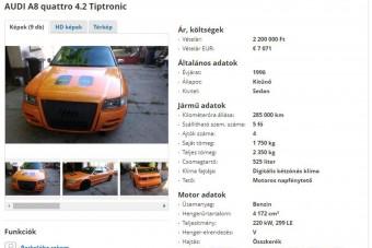A nap hirdetése ezúttal ez a narancssárgára tuningolt Audi A8