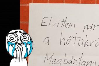 Bűnbánó tolvaj hagyott zseniális üzenetet egy pesti autó szélvédőjén