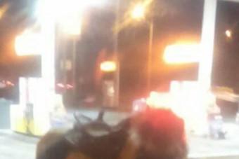 Hétfő hajnalban egészen különös látvány fogadta az autósokat egy óbudai benzinkúton