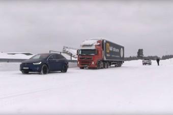 Vajon el tud húzni a hóban egy 43 tonnás kamiont a Tesla?
