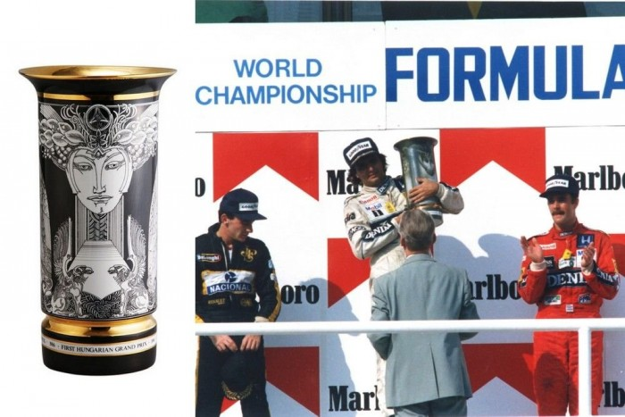 1986 - Az első Magyar Nagydíjon Szász Endre grafikájával díszített hollóházi porcelán vázát tartott a magasba Nelson Piquet