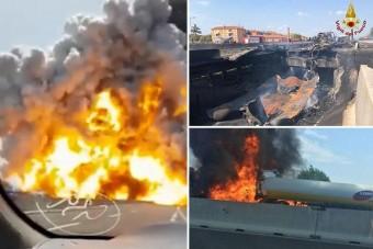 Videón a drámai robbanást okozó olasz baleset