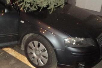 Karácsonyfát állítottak egy Audi szélvédőjébe a lakótelepen