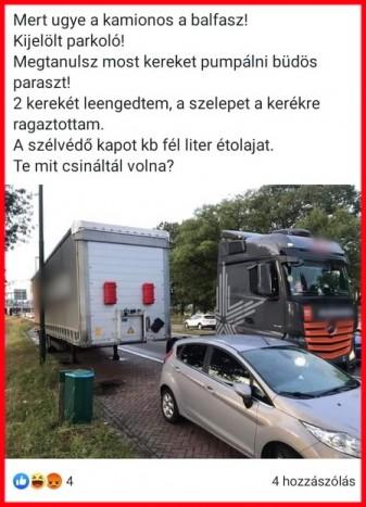 Aljas bosszút állt egy magyar kamionos, mert az autós rossz helyen parkolt 1