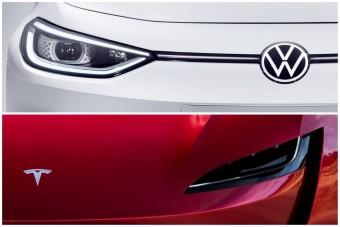 A Tesla majdnem megverte a Volkswagent