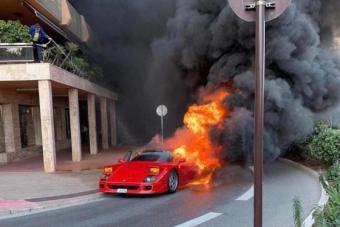 Porrá égett egy Ferrari F40 Monacóban, egy helyi lakos az erkélyről próbálta oltani