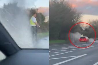 Itt a trógerség magasfoka: pocsolyába gázolva, direkt áztatták el a rendőrt