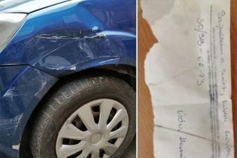 Sajnálom-cetlit írt a károkozó autós, aztán ráfirkantott egy kamu számot