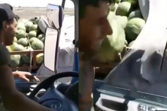 Vezetés közben lopott dinnyét a kamionsofőr