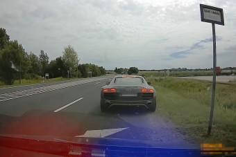 220-szal előzte a rendőrautót az Audi R8-as, elkapták a magyar rendőrök