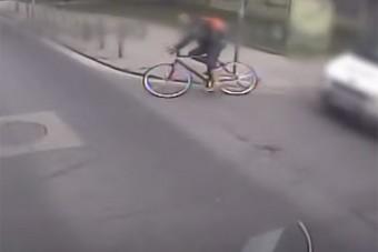 Halálos bátorsággal kanyarodott busz elé a budapesti biciklis