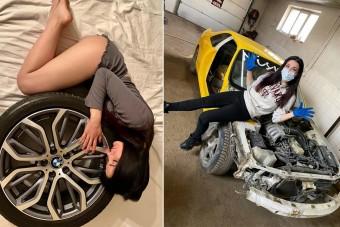 Anasztázia a világ egyik legszebb autószerelője, aki nem fél összepiszkolni magát