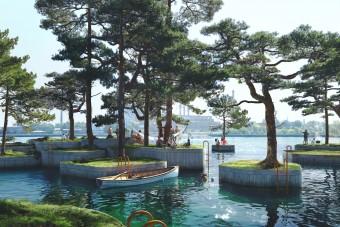 Lebegő szigetecskékből épül park a kikötőben