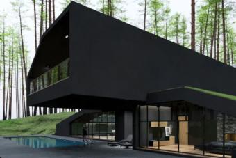 Filmes főgonoszok búvóhelye is lehetne ez a matt fekete luxuslakás az erdő mélyén