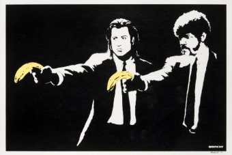 Hatalmas összegért kelt el az ikonikus Banksy-festmény