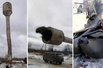 Picit elszámolták, hová is fog dőlni a víztorony, ami szerencsétlen UAZ-t csapta szét