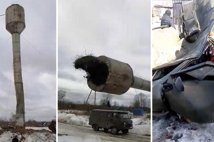 Picit elszámolták hová is fog dőlni a víztorony, ami szerencsétlen UAZ-t csapta szét
