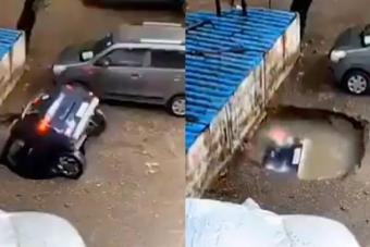 Megnyílt a föld egy autó alatt Indiában