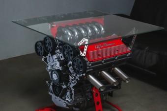 Minden kidobásra ítélt V6-os Alfa Romeo-blokkból legyen asztal!