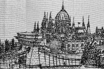 WC-papírra rajzolták a budapesti látképet